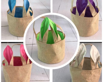 Wholesale Burlap Easter Basket, Satin Bunny Ears. Easter Egg Hunt Pale. Blank Easter Baskets. Great for crafting and resell. ON SALE