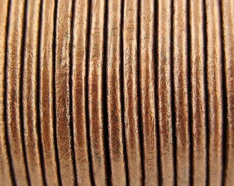 Metallic Copper Leather Cord 2mm 10 Yards