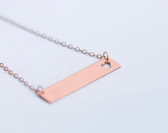 Minimalist copper bar necklace with tiny cut out heart // 14k rose gold filled chain // geometric charm // heart necklace // layered jewelry