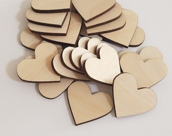 Wooden DIY Unfinished Heart Shape Cut Outs ( Embellishments, Valentines Day, etc...)