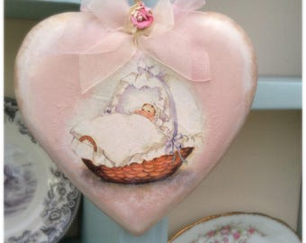 Handmade Shabby Chic/Vintage Baby Girl-New Baby-Christening Gift- Solid Wooden Heart - Keepsake/Wall Door Hanger-