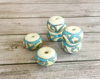 Organic Lampwork  handmade glass bead - Ivory turquoise lampwork focal bead - Rustic Etched beads -