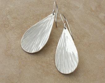 Raindrop Earrings, Hammered Argentium Silver Earrings