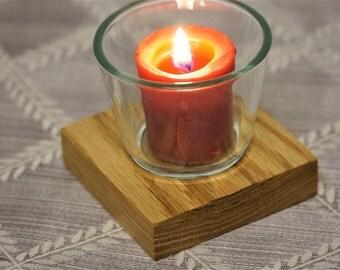 Oak Votive Candle Holder - Single