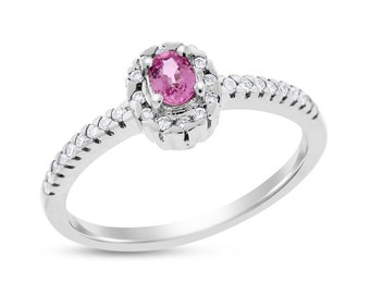 0.50 Ct. Natural Diamond and Pink Sapphire Gemstone Halo Ring In 14k White Gold