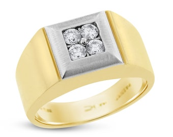 0.54 Ct. Natural Diamond Mens Statement Ring In Solid 14k White/Yellow Gold