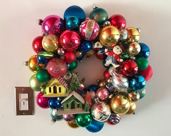 Vintage Christmas Ornament Wreath Multi-Color with Putz Houses and Snowman - Shiny Brite