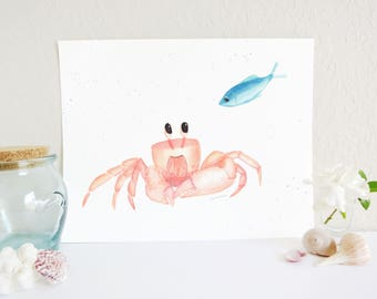 Crab and Fish Friends Art Print, Ocean Nursery Decor, Cute Crab Art, Cute Fish Art, Ocean Nursery Art Print, Fish Nursery Art, Baby Room Art