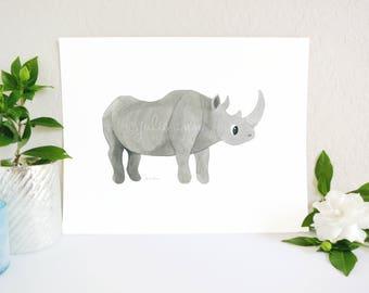 Rhino Art Print, Rhinoceros Art Print, Jungle Nursery, Zoo Nursery Decor, Rhinoceros Art, Safari Nursery Print, Safari Decor, Baby Room Art