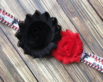 Atlanta Falcons Red and Black Shabby Flower Headband, Newborn Headband, Baby Headband, Toddler Headband, Girls Headband, Football Headband