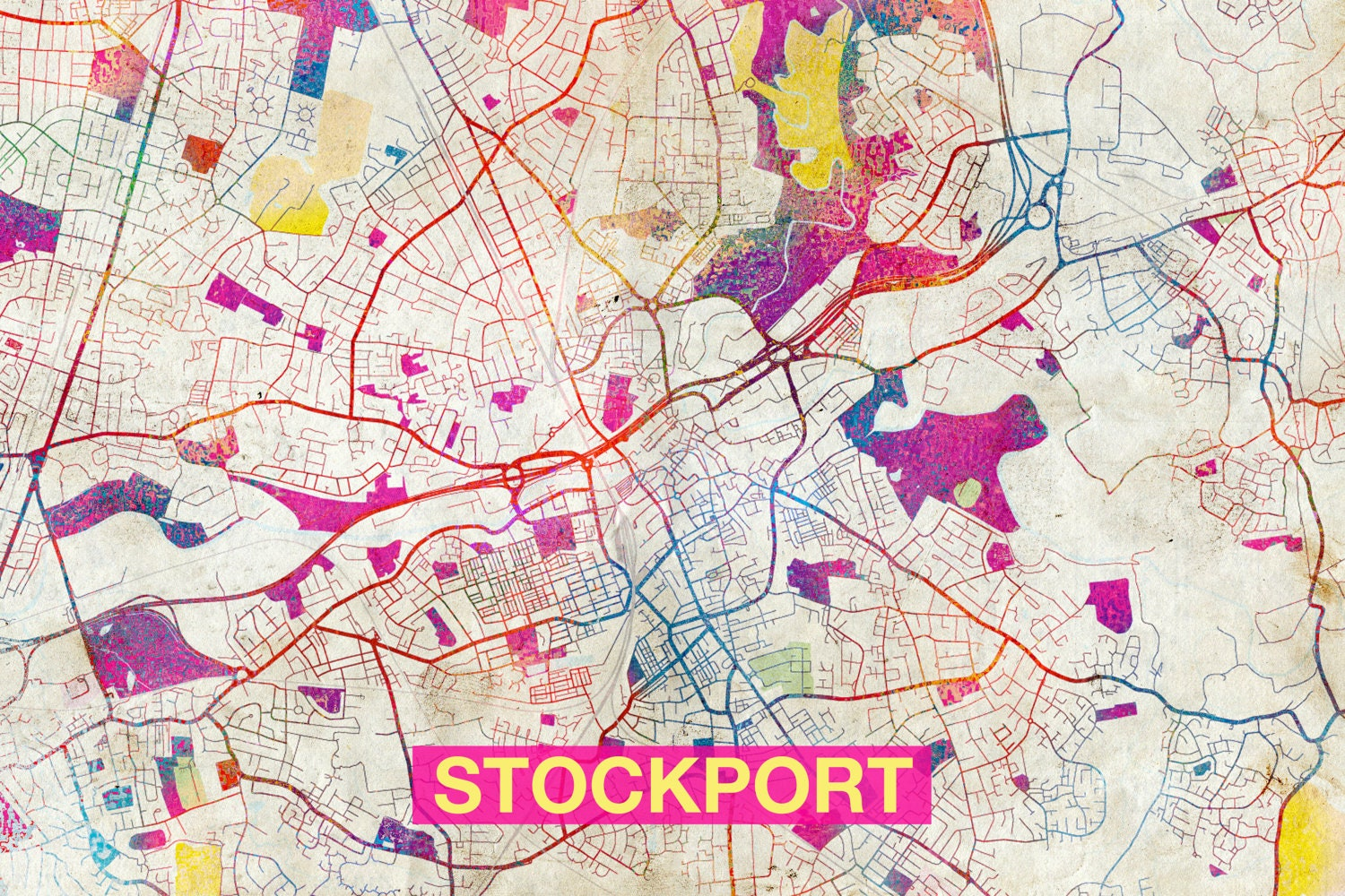 Stockport Map Original Art Print City Street Map of