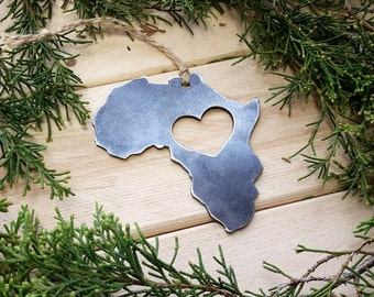 Love Africa Steel Ornament Metal Heart Christmas Tree Ornament Holiday Gift Industrial Decor Wedding Favor By BE Creations