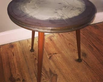 Repurposed upcycled vintage film canister table H40cm Dia. 40cm