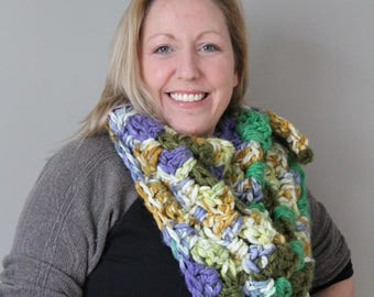 Large Bandana Scarf - Ready to Ship, One of a Kind, Features Handmade Skull Button