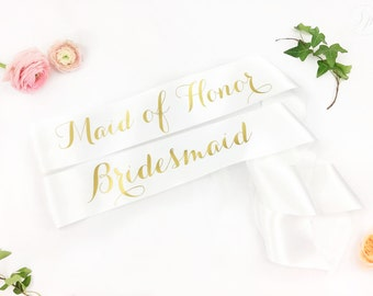 Custom Bachelorette Bridal Party Sash Pack - PACK of bridal party sash- bridesmaid sash- Bachelorette Sash - Satin Bride Sash - GROUP SASHES