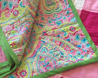 Lily Bright Pink Gingham Baby Quilt