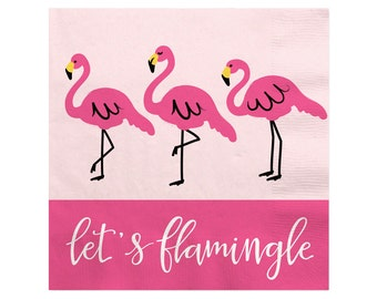 Flamingo Beverage Napkins - Party Like a Pineapple - Pink Cocktail Napkins - Birthday Party, Baby & Bridal  Shower Party Supplies - 16 ct