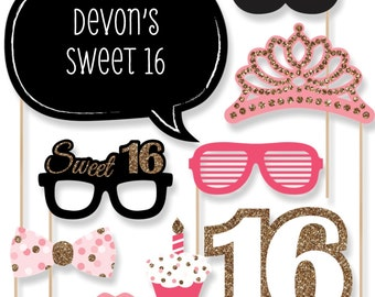 Sweet 16 Birthday Party Photo Booth Props - Photobooth Kit with Custom Talk Bubble - Photo Booth Accessories - 20 Photo Props and Dowels