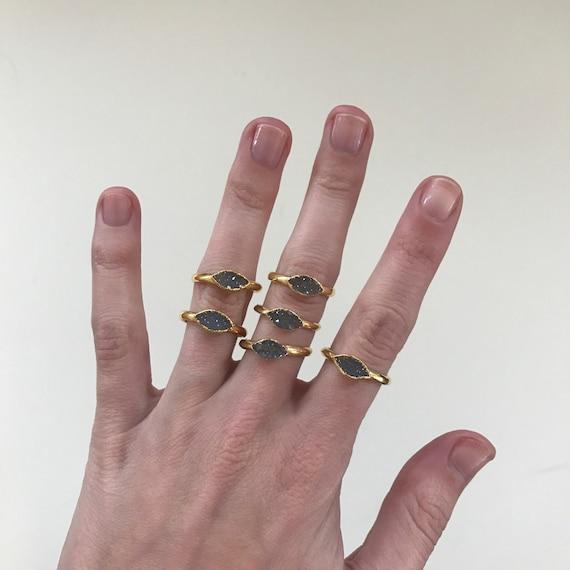 Druzy Marquis Ring