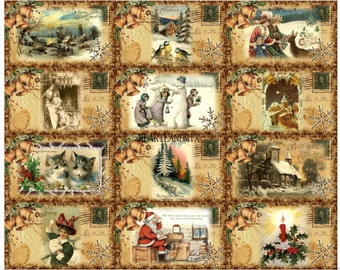 Vintage Digital Christmas Images Instant Download Printable tags