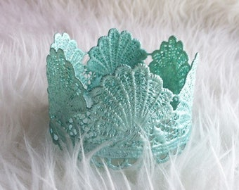 Little mermaid aqua seashell princess lace crown