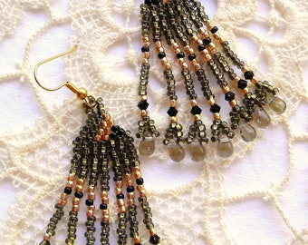 Black and Gold Native American Chandelier Earrings