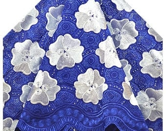 WHOLE 5 YARDS Voile Lace Fabrics Royal Blue & White Silver /Fabrics for Dress, Bridal Material/ Cotton Voile Fabrics Craft Supplies Material