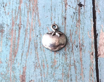 Tomato charm pewter (1 piece/1 sided) - vegetable charms, food charms, gift for chef, culinary charms, silver tomato pendant, ZZ3