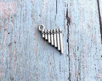 Small pan flute charm 3D pewter (1 pc) - silver pan flute pendant, instrument charm, music teacher charm, music charm, zampona charm, BX172