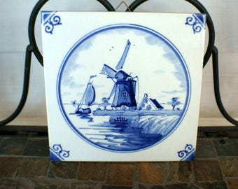 Vintage  Blue and White Delft Tile Dutch Windmill Scene