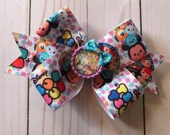 Tsum Tsum Glitter Bottle Cap Hair Bow Clip, Hair Accessories
