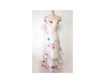 Vintage Kenzo France Silk Flower Long One Piece Dress