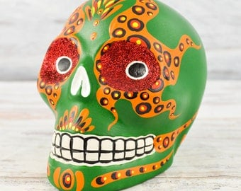 D096 Clay Skull Day of the Death Oaxacan Wood Carving Painting Handcrafted Folk