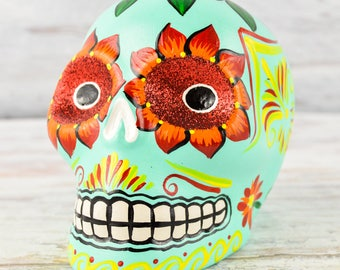 D104 Clay Skull Day of the Death Oaxacan Wood Carving Painting Handcrafted Folk