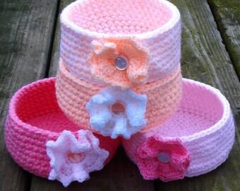 Crochet basket set of FOUR-crocheted basket-crochet storage-basket storage-basket-hand crochet basket-storage-set of baskets-storage basket