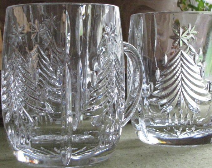 Mikasa Crystal Christmas Tree Mugs Set of 4 Holiday Vintage Drinkware and Replacements