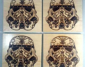 Stormtrooper Sugar Skull Drink Coasters