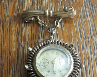 Vintage Bow Pin/Brooch Banner Watch - free shipping USA