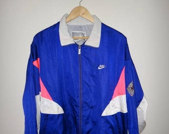 On Sale 25% Off Rare Vintage NIKE Multicolor Windbreaker Jacket Hip Hop Nylon