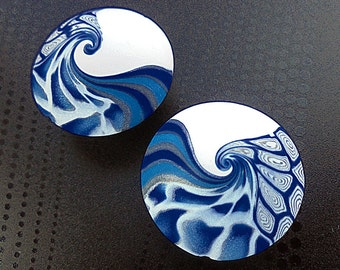 2 handmade blue beads, lentil beads, Polymer clay beads, Handmade beads, Swirl beads, Unique beads, Artist beads, Craft beads, Round beads