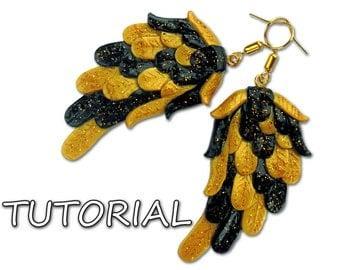 Wings earrings tutorial, Angel wings earrings tutorial, Jewelry tutorial, Earrings tutorial, Polymer clay tutorial, Craft tutorial, Wings