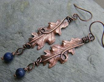Leaf earrings ~ Dangly earrings ~ Statement earrings ~ Oak leaf earrings ~  Oak leaf jewelry ~ Blue gemstone leaf earrings ~ Long dangly