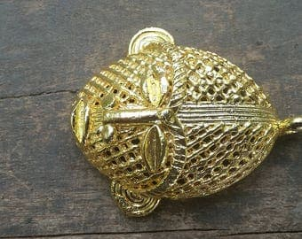 """African """"lost wax"""" brass pendant, tribal mask (61 x 47 mm), gold plated, tribal ethnic jewelry"""