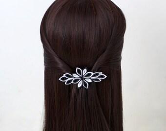 Kanzashi fabric flower french barrette. Black and white barrette. White and black flower barrette. Grosgrain Ribbon Hair Barrette