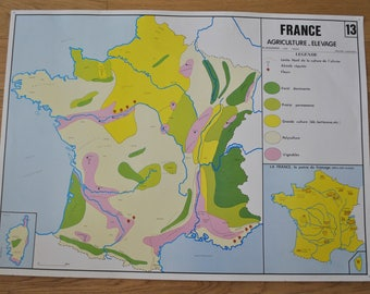 Old map double-face - France: Agriculture, livestock - energy, mines. By NIGHTINGALE