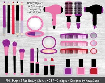 Makeup Clipart Images For Girls Cosmetics Beauty Scrapbook Hair Dryer Brushes Mascara Eyeshadow Lipstick Eyeliner Compact Mirror Nail Polish