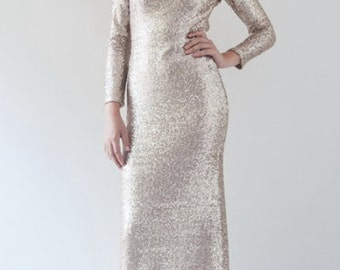Anatasia Long Sleeve Sequin Gown