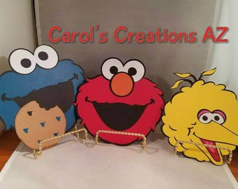 "3 Large 7"" Elmo, Cookie Monster and Big Bird Set / Sesame Street Die Cuts / Sesame Street Party Decorations/ ANY SET OF 3 / Mix and Match"