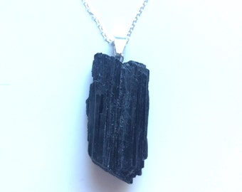 black tourmaline pendant with silver plated chain