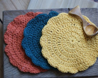 Sunflowers - pure cotton crocheted dish cloths or wash cloths (set of 3)